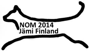 Tekstiileihin painoa varten pelkkä viiva NOM logo